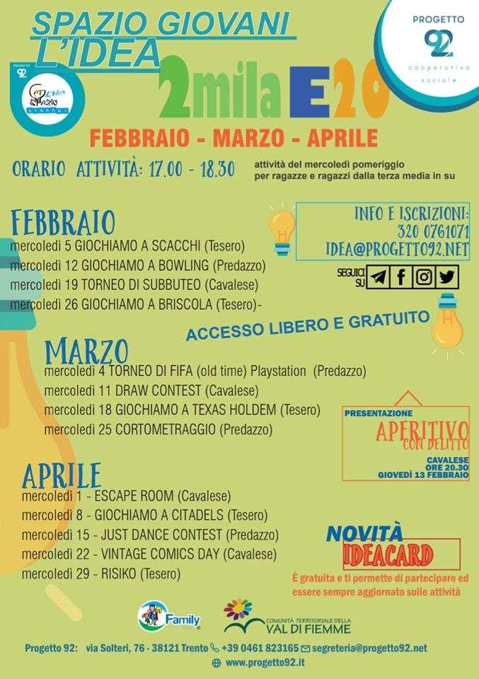 L'idea spazio giovani – Calendario iniziative febbraio-marzo-aprile