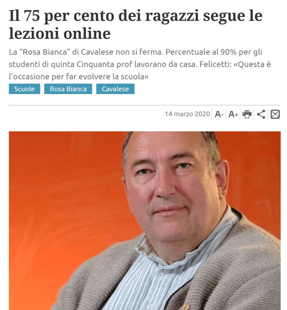 """Giornale """"Trentino"""" del 14 marzo 2020"""