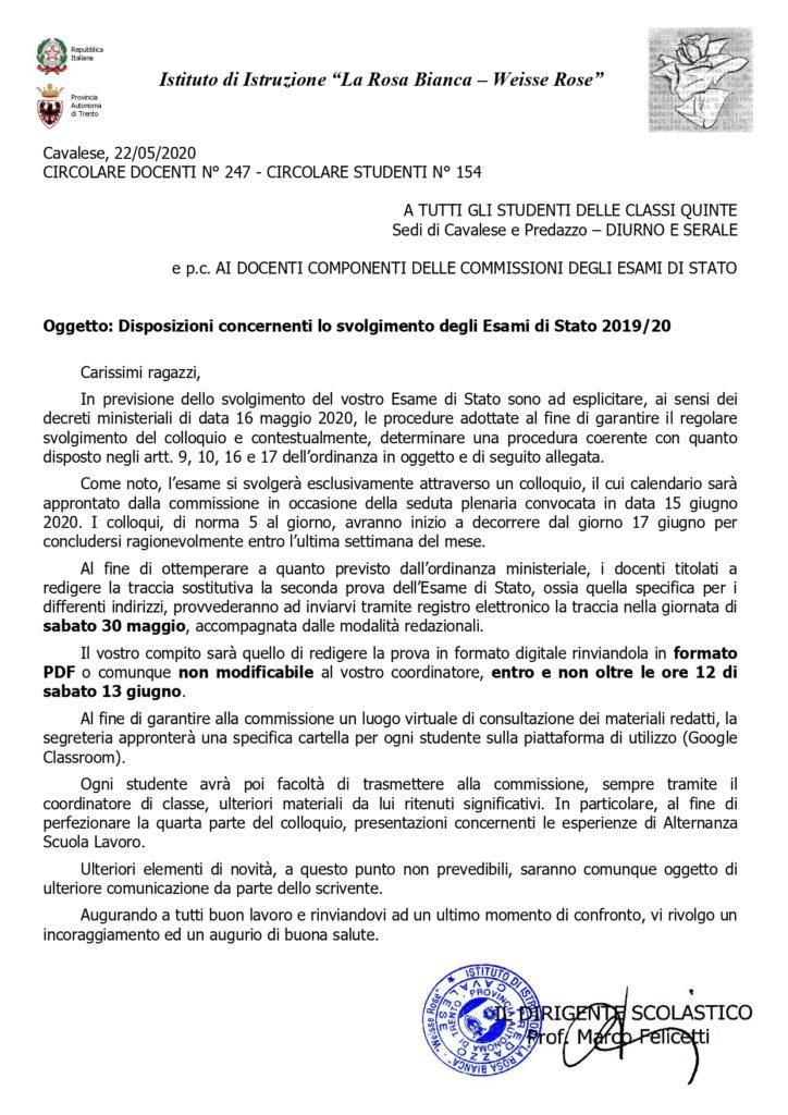 Disposizioni concernenti lo svolgimento degli Esami di Stato 2019/20